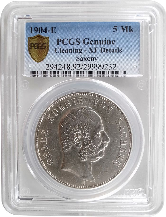 PCGS German   5 Mark Silver 1904 Cleaning XF Details