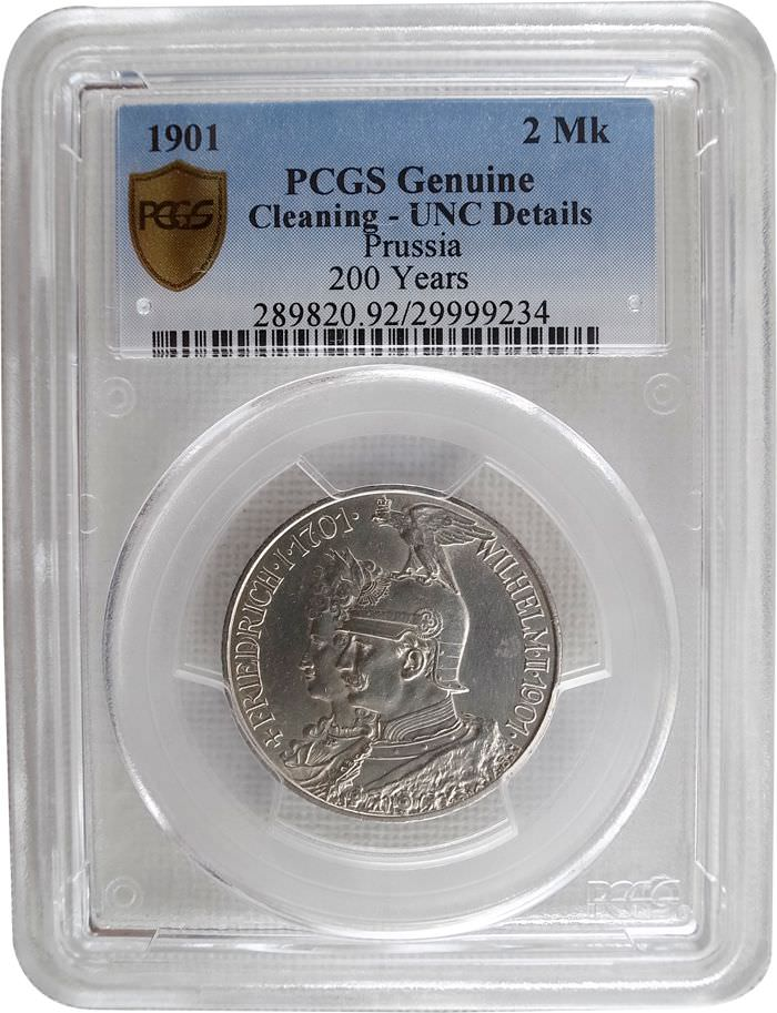 PCGS German2MarkSilver 1901 Cleaning UNC Detailss