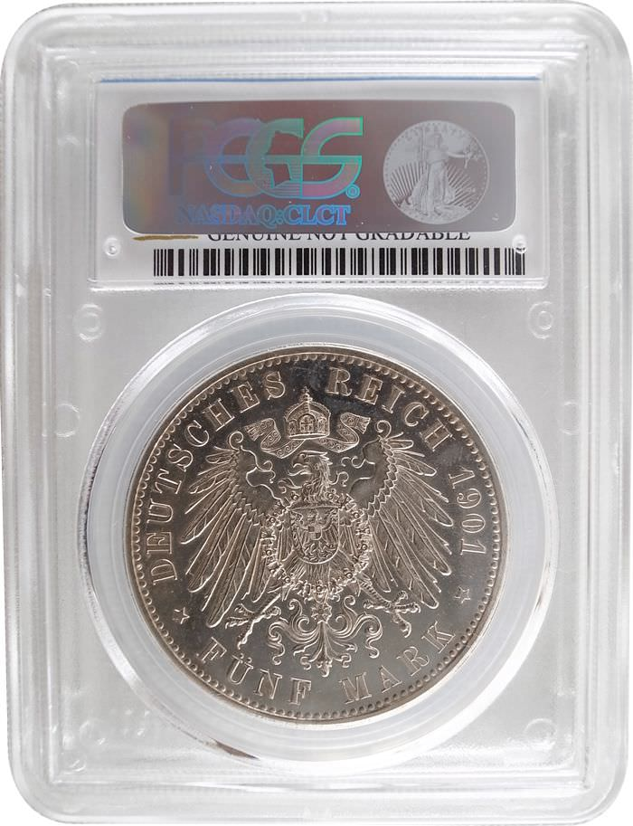 PCGS German   5 Mark Silver 1901 Cleaning UNC Details